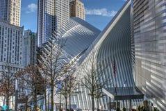 WTC hub and 9/11 Memorial Museum. World Trade Center transportation hub and 9/11 Memorial Museum Stock Photo