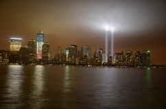 WTC Lights. Lights to the Heavens from the Site of the World Trade Center Stock Image