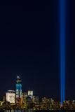 WTC memorial: Tribute in Light. Twin beams of light over lower Manhattan in New York City in 9/11/2012 Stock Image