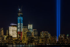 WTC memorial: Tribute in Light. Twin beams of light over lower Manhattan in New York City in 9/11/2012 Stock Photos