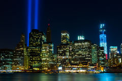 WTC memorial: Tribute in Light. Twin beams of light over lower Manhattan in New York City in 9/11/2012 Stock Images