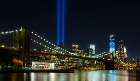 WTC memorial: Tribute in Light. Twin beams of light over lower Manhattan in New York City in 9/11/2012 Royalty Free Stock Photo