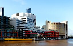 WTC Wharf. Yarra River Melbourne. Stock Photos