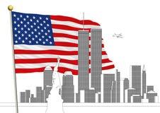 WTC, world trade center i Nowy Jork linia horyzontu z, JESTEŚMY chorągwiani Fotografia Stock