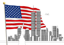 WTC, World Trade Center and the New York Skyline with IS flag Stock Photography