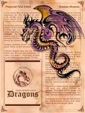 Wütende Drachezeichnung auf alter Weinlesebuchseite Stockfoto