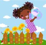 Wtering Sonnenblumen eines kleinen Mädchens lizenzfreie abbildung