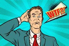 Wtf-Geschäftsmann verwirrt und verwirrt lizenzfreie abbildung