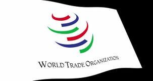 WTO Wereldhandelsorganisatievlag het langzame golven in perspectief, Animatie4k lengte royalty-vrije illustratie