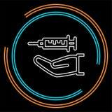 Wtryskowa igła - medyczna ikona, strzykawka na ręce ilustracja wektor