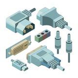 Wtyczkowi komputerowi włączniki Ręki drawnmi vga audio dźwigarka i elektryczność portowych związków wektorowi isometric obrazki ilustracja wektor