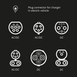 Wtyczkowy włącznik dla ładować elektrycznego pojazd Wektorowy ilustracyjny ładuje sznur Pojazdu wpust Ikona włączników typ AC i D Obrazy Stock