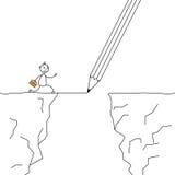 Wtyka mężczyzna krzyżuje falezy z ołówkowym rysunkiem most ilustracja wektor