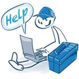 Wtyka postać jako rzemieślnik z toolbox, laptopem i pomocą, obraz royalty free