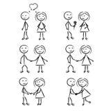 Wtyka postać mężczyzna i kobiety w ruchu ilustracji