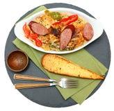 Wudu Cajun Korzenny kurczak i kiełbasa z Rice obraz royalty free
