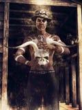 Wudu czarnoksiężnik z zwierzęcą czaszką Obrazy Royalty Free