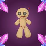Wudu lali ikony kary znaka duchowości złości magii płaska zabawka i Halloween guślarstwa horroru symbolu igielny wektor royalty ilustracja