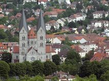 Wuerzburg with Adalbero Church Royalty Free Stock Image