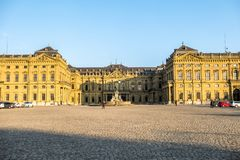 Wuerzburg , Germany - February 18 2018 : Front view of the royal residence palace in Wuerzburg.  Stock Photo