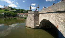 Wuerzburg on the Main River. The Main River in the Bavarian city of Wuerzburg, Germany, just below the castle Stock Image