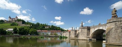 Wuerzburg on the Main River. The Main River and castle in the Bavarian city of Wuerzburg, Germany Royalty Free Stock Photos