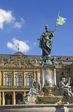 Wuerzburg Palace. Franconia fountain in front of Residence Palace in Wurzburg, Germany. The palace is one of Europe's most renowned baroque castle and it is Stock Image