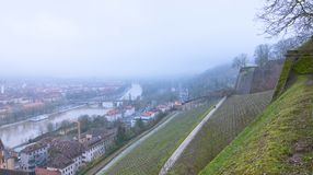 Wuerzburg city view from top. Wuerzburg is a small nice city in Bavaria, Germany.  The photo is taken on a foggy day in January Stock Photography
