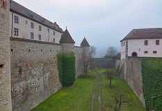 Wuerzburg Marienberg Fortress from inside. Wuerzburg is a small nice city in Bavaria, Germany.  The photo is taken on a foggy day in January Stock Images