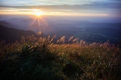 Wugong bergnationalpark i solnedgång Fotografering för Bildbyråer