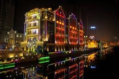 Wuhan alla notte Fotografia Stock Libera da Diritti