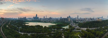 Wuhan city sunset scenery in summer stock photo