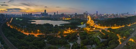Wuhan city sunset scenery in summer royalty free stock images