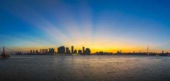 Wuhan city sunset scenery in summer stock photos