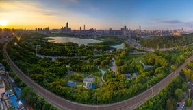 Wuhan city sunset scenery in summer stock images