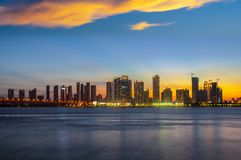 Wuhan city sunset scenery in summer royalty free stock image