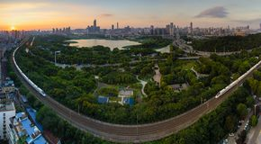 Wuhan city sunset scenery in summer royalty free stock photography