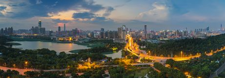Wuhan city sunset scenery in summer stock image