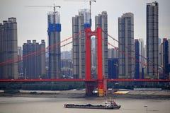Yingwuzhou Yangtze River Bridge, Wuhan, China royalty free stock images