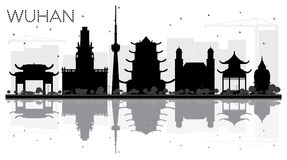 Wuhan China City Skyline Black and White Silhouette with Reflect Royalty Free Stock Images