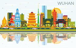 Wuhan China City Skyline with Color Buildings, Blue Sky and Reflections. royalty free illustration