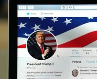 President Trump official twitter account page. Wuhan China, 2 December 2017: American president Donald Trump POTUS official twitter account website page on a Royalty Free Stock Images