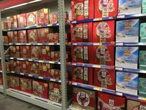 Mooncakes boxes in supermarket in China stock photo