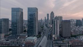 Wuhan China urban modern city skyline landscape timelapse twilight sunset. Blue hour stock video footage