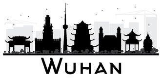 Wuhan City skyline black and white silhouette. Stock Image