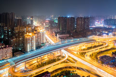 Wuhan cityscape night view. Beautiful city interchange overpass at night with wuhan cityscape, China Royalty Free Stock Photography