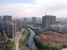 Wuhan miasta linia horyzontu zdjęcie royalty free