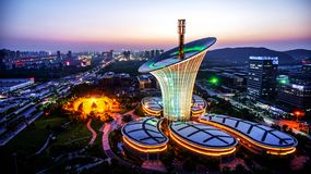 Wuhan New Energy Research Institute. The building of the Institute in the form of a flower calla. Receives energy for activities from the sun and wind stock images