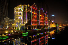 Wuhan at night. Wuhan in China at night royalty free stock photo