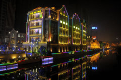 Wuhan at night. Wuhan in China at night stock photo